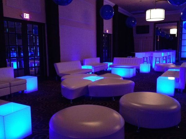 Lounge Theme Bat & Bar Mitzvah & Party Ideas - Blue LED Tables, White Lounge Furniture Club {Dynamic Events} - www.mazelmoments.com/blog/19023/lounge-club-nightclub-theme-ideas-bar-bat-mitzvah-party-sweet-16/