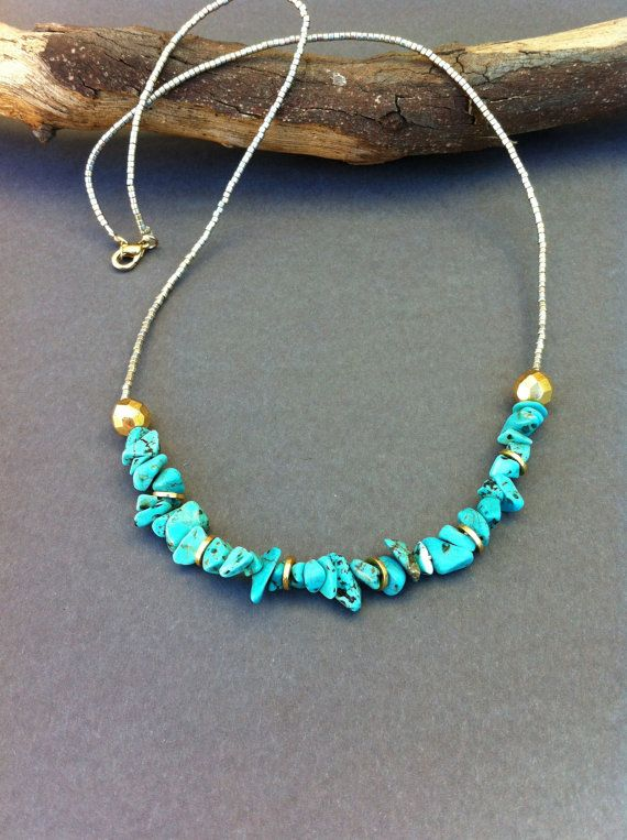 Turquoise Chip Necklace. Seed Beaded Necklace. Turquoise Chip, Silver, Gold. Semi Precious Necklace. Summer Necklace.