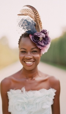 Fascinators can make a bold statement and alternative to a veil.     African American Bride, Black Bride