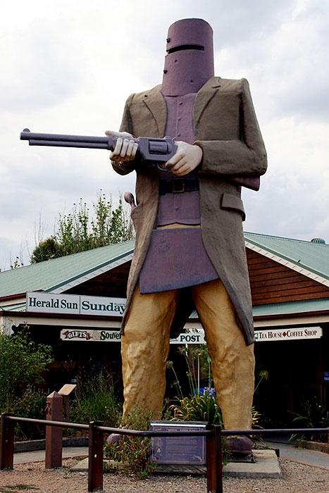 Ned Kelly statue in Glenrowan