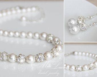 Boda sistema de la joyería, Swarovski perlas nupcial joyas conjunto, perlas de collar pendientes pulsera de conjunto, e01-b01-n10