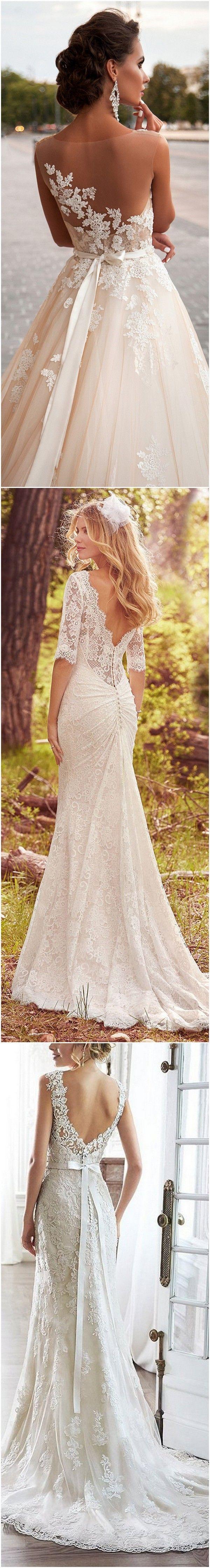 vintage low back lace wedding dresses