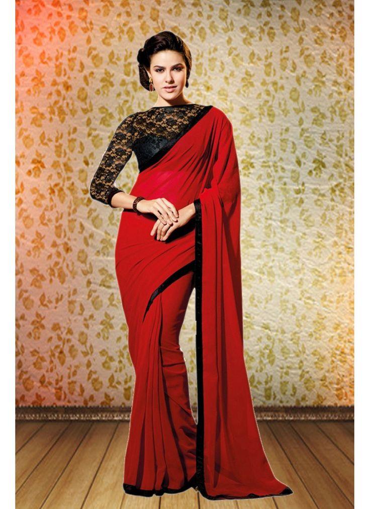 StyleFunia Simple Designer Chiffon Red And Black Saree