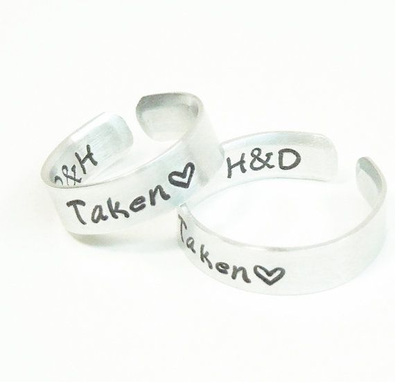 Customized relationship rings promise rings - Taken rings with initials  by belvidesigns