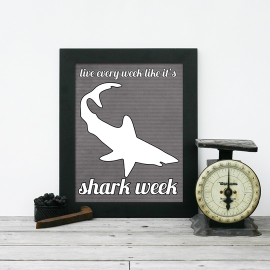 """Carpe diem"" is so passé. Say ""seize the day"" with this ferocious print.Worth Reading, Book Worth, Sharks Weeks, Seize The Day, Carpe Diem, Shark Week, Ferocious Prints"