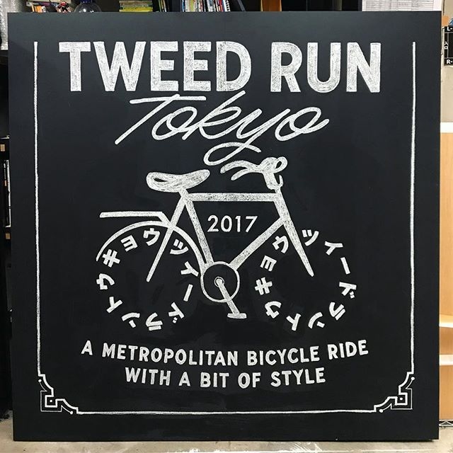 """Drew this chalk board today for """"Tweed Run Tokyo"""" that is taking place this Sunday! 🖌👨🏼🎨 . . . #calligraphy #kalligrafi #handlettering #lettering #type #typografi #typography #type #typespire #Goodtype #customtype #カリグラフィーワークショップ #カリグラフィー @pilotpenusa @pilot_pen_usa @typespire @goodtype @typetopia @typeverything #chalk #chalkart #chalkboard #tokyo #bicycle #東京 #チョーク #チョークアート  #チョークボード"""