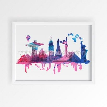 World Travel Watercolor Poster - Moon Wall Stickers