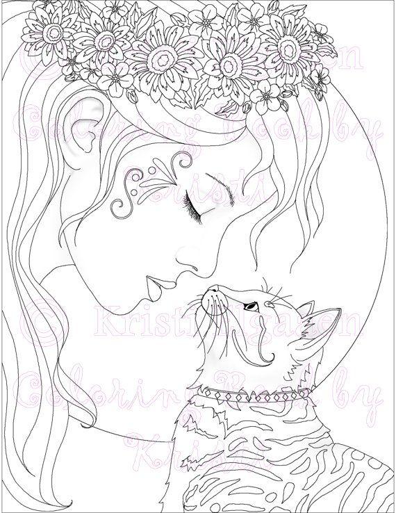 891 mejores imágenes de Beautiful Women Coloring Pages for