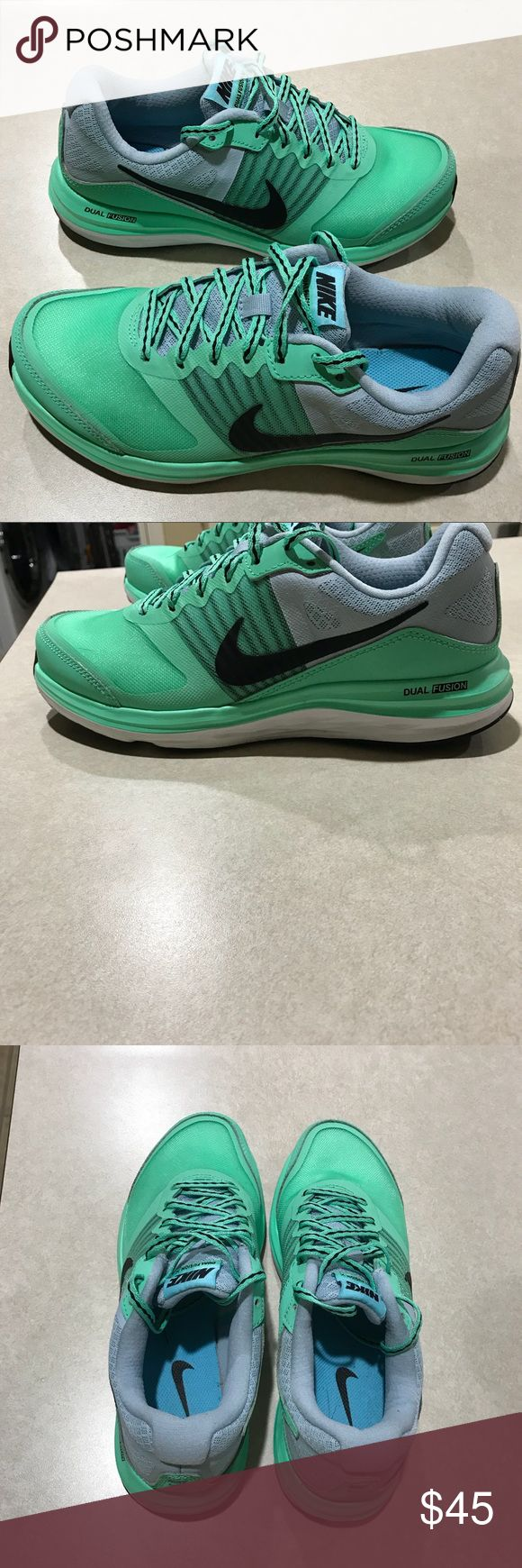 Nike Dual Fusion X running shoe. Size 7.5. EUC Nike Dual Fusion X running shoe. Size 7.5. EUC. Hard to find color! Perfect addition to any girls closet! (Been worm maybe a handful of times) Like new! Nike Shoes Sneakers