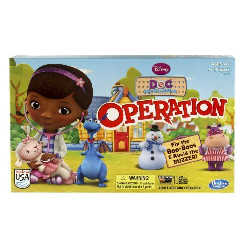Doc McStuffins—Operation Doc McStuffins Operation combines the silly fun of the classic Operation game with Doc McStuffins and her friends. You be Doc McStuffins, and help fix Lambie, Chilly, and Hallie's boo-boos by carefully removing them with tweezers and placing a bandage on the empty space. Be careful. If you touch the sides of the boo-boo pocket with the tweezers, a red light will go on, and you'll get the buzzer. If you are able to remove the boo-boo without getting the buzzer, you…