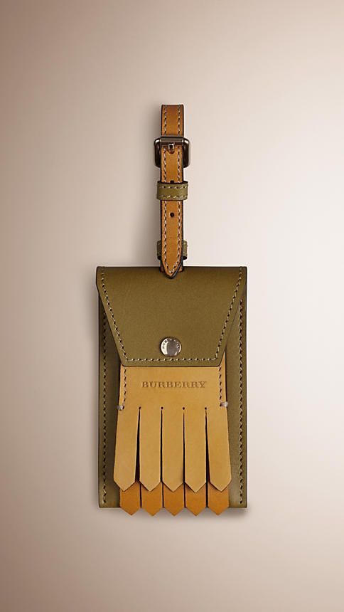 Olive green Leather Luggage Tag - Image 1