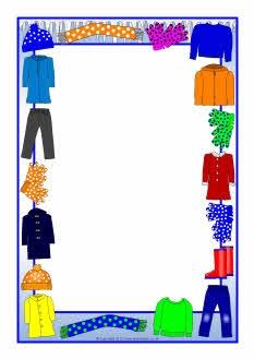 Winter clothes A4 page borders (SB7064) - SparkleBox