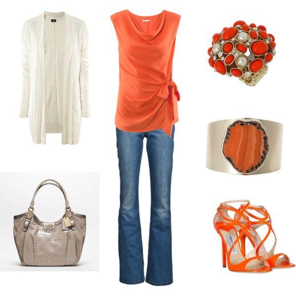 Untitled #171, created by achristie: Fashion Shoes Clothing Etc, Orange You Glad, Orange Ties, Orange Shoes, Summer Color, Orange Blouses, Orange Outfit, Style N Beautiful, Orange Tops