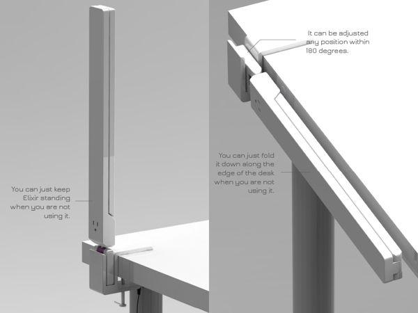 Multi Functional Space Maximizing Desk Lamp