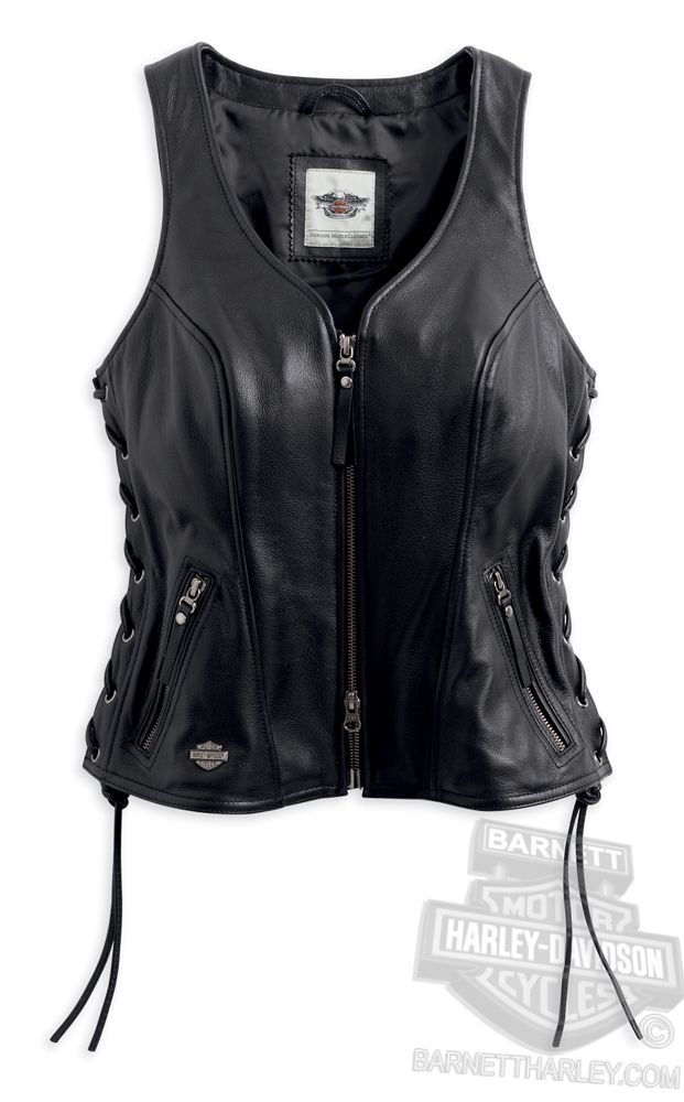 Harley-Davidson® Womens Avenue Metal B&S Badge with Side Lacing Black Vest 98071-14VW