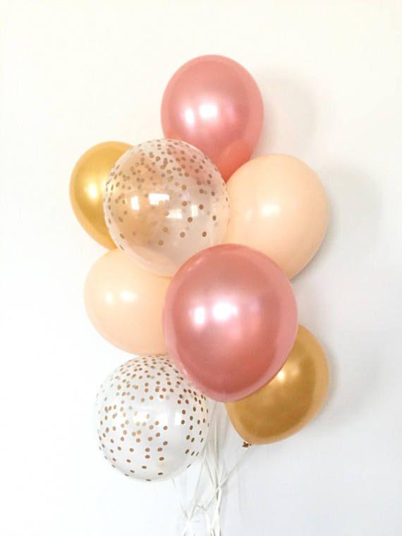 Rose Gold Balloon Bouquet Blush and Gold Balloon Bouquet