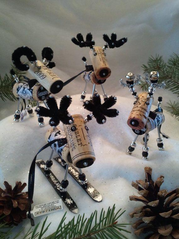 Reindeer wine cork ornaments