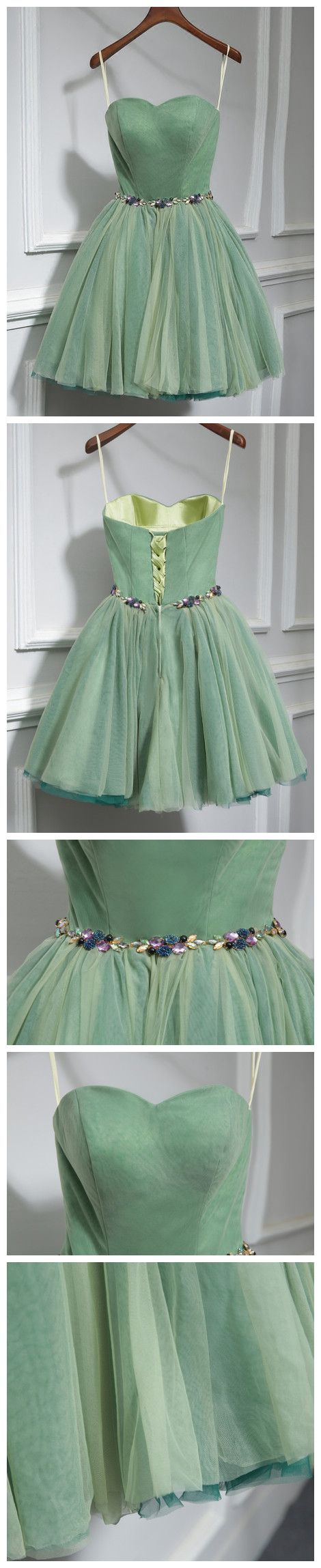 CHIC A-LINE SWEETHEART TULLE GREEN SIMPLE SHORT PROM DRESS HOMECOMING DRESS AM211