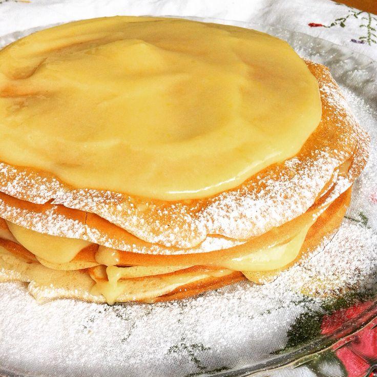Crepe & lemon curd cake