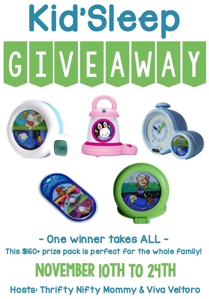 If your little one gets out of bed way too early, check out our Kid'Sleep Giveaway!  These products will help them learn when it's time to get out of bed and start the day!  One winner takes ALL!