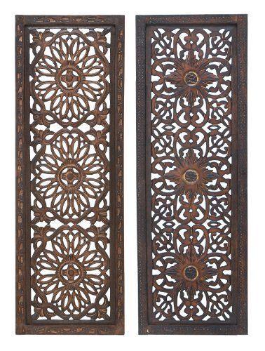 K&N- 2 PCS Wall Sculpture Wood Panel Antique Asian Art Hanging Hand craft Decor #KandN #AntiqueAsia