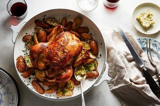 There are countless ways to prepare a simple roast chicken, but sometimes you want and need a go-to preparation that you can turn to again and again without overthinking every single detail. This buttermilk roast chicken with potatoes and cornichon butter is that preparation for me. It takes a cue from fried chicken by relying on a simple brine of buttermilk and pickle juice, resulting in a beautifully bronzed, crackly-skinned, evenly seasoned and tender bird every single time. And because…