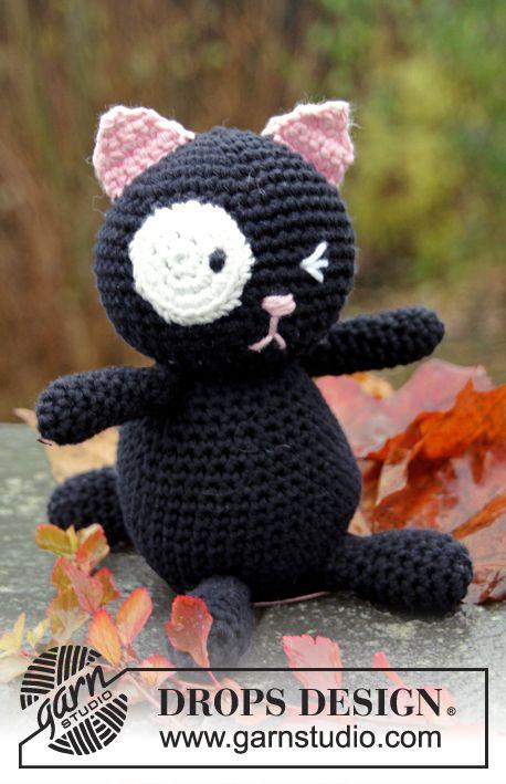 """Sylvester - DROPS háčkovaná kočka z příze """"Paris"""". - Free pattern by DROPS Design"""