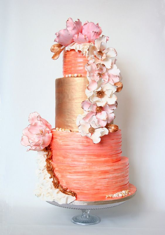 peach echo pantone, color, wedding cake, peach wedding cake, evensojudith