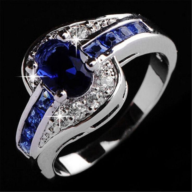 Women Blue Sapphire White Gold Filled Engagement Ring Size 7 8 9 Rings Jewelry #UnbrandedGenenic #Fashion