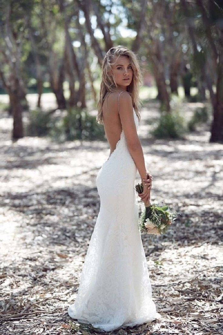 Cool Amazing Hot Sexy Sheath Lace Backless Beach Wedding Dresses Spaghetti Bridal Gowns 2018 2018