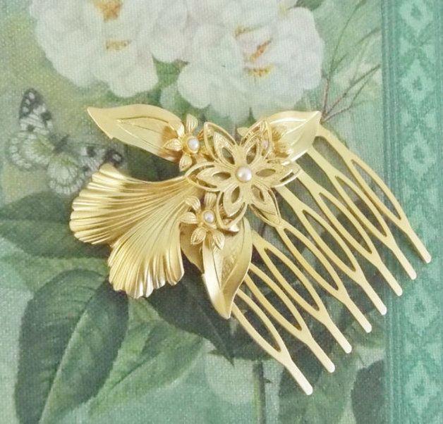 Haarkammen - gouden bloemen en bladeren haar te kammen - Een uniek product van netalyshany op DaWanda