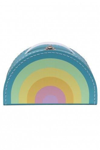 Retro Vintage Regenboogkoffer Pastel Blauw