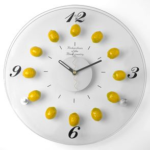 Lemon Kitchen Decor Clear Polished Glass Clock Decorated With Little Lemons Classic And