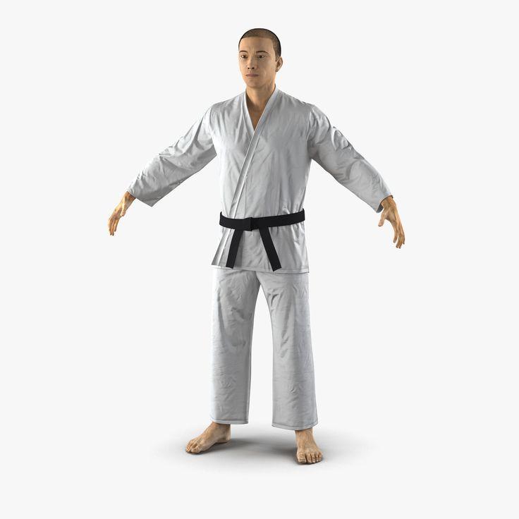 3d japanese karate fighter fur model