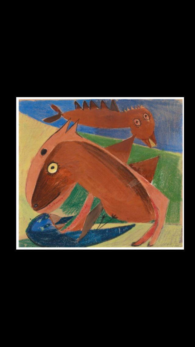 "Carl-Henning Pedersen - "" Fabelwesen "" - Gouache, color chalk and pencil on cardboard - 39,7 x 44,5 cm"