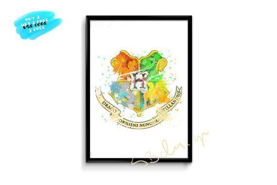 Hogwarts Logo Watercolor Poster  Printable Hogwarts Nursery