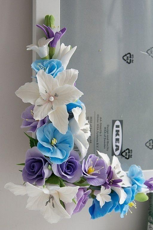 Купить Фоторамка с лилиями и полевыми цветами - сиреневый, белый, лилия, полевые цветы, фоторамка, рамка