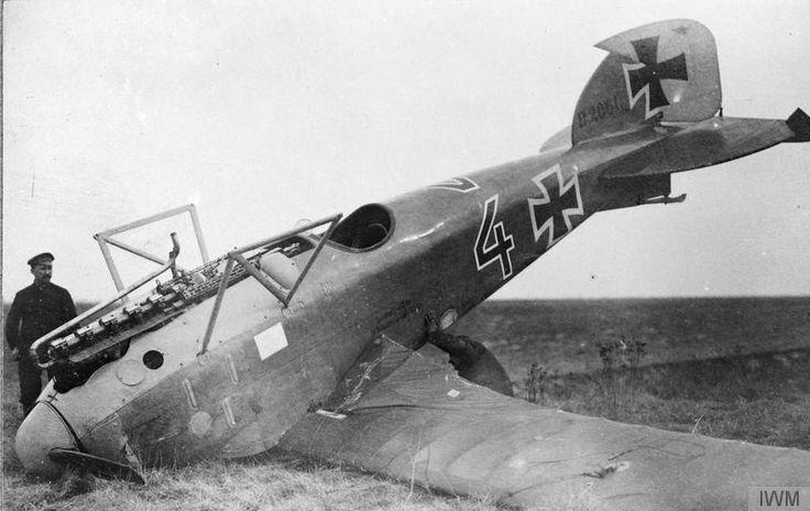 Wrecked Albatross D.III fighter biplane of the German Jasta 29, serial number is D 2061/16, probably of Vizefeldwebel Hans Fritzsche, 1917.