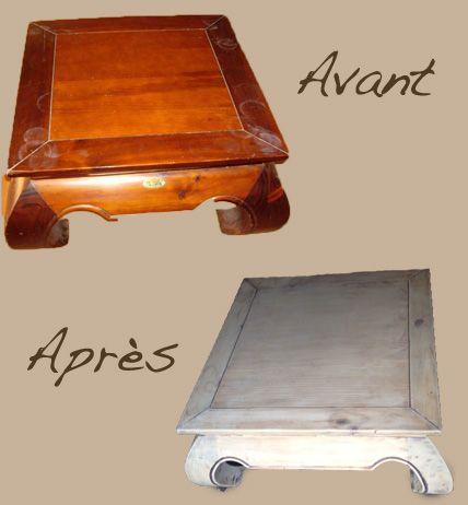 Table Opium Maison du Monde : - Poncer - Appliquer une teinte à effet bois flotté - Poncer - Vernir (mat incolore)