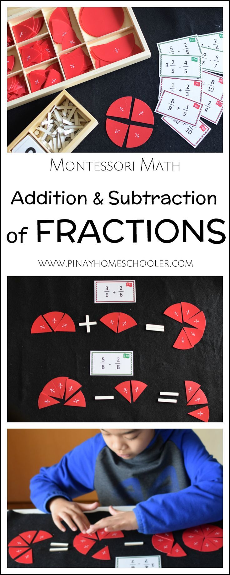 Learning how to add and subtraction fractions with the same denominator the Montessori way #montessori #math #fractions #elementary #gradeschool #homeschool