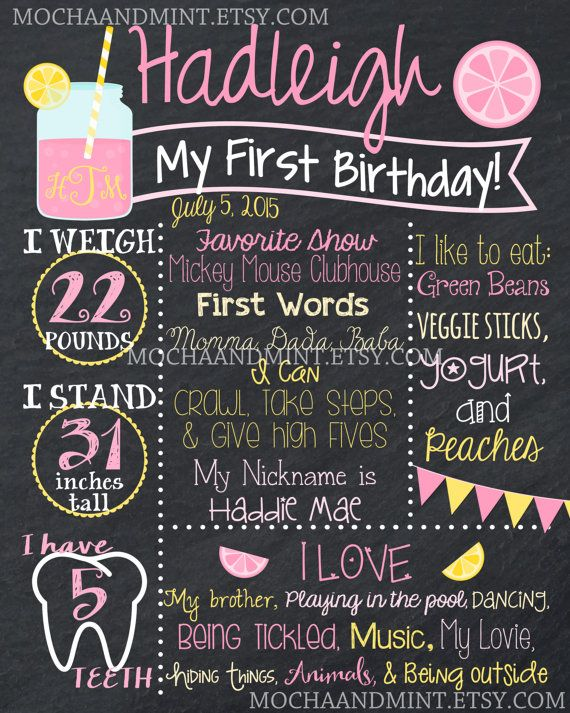 First Birthday Chalkboard Sign Girl Pink Lemonade by MochaAndMint