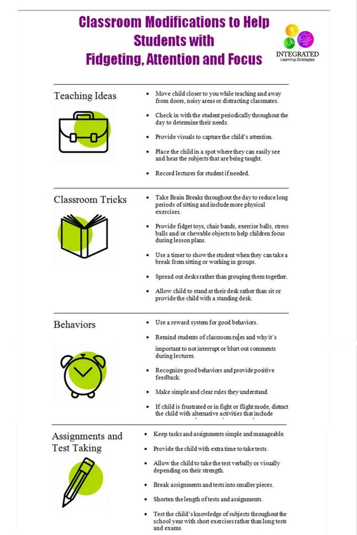 Classroom Modifications to Help Students with Fidgeting, Attention and Focus   ilslearningcorner.com