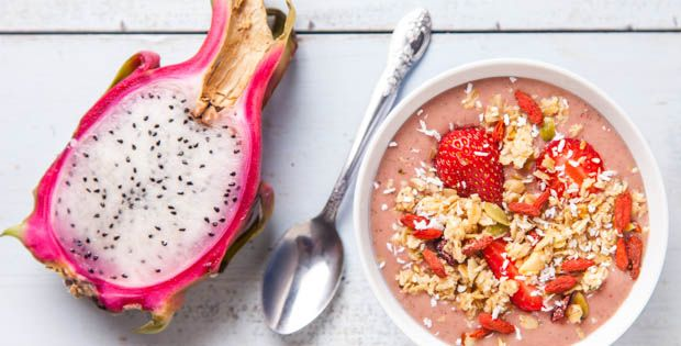 Smoothie bowls are just thick smoothies with toppings so if you don't have time to sit down and enjoy this bowl simply add more liquid to drink on-the-go.
