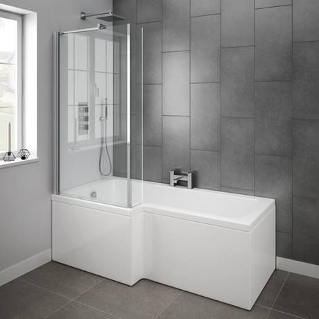 Milan 1700mm L-Shaped Shower Bath With Fixed Screen & Panel Online