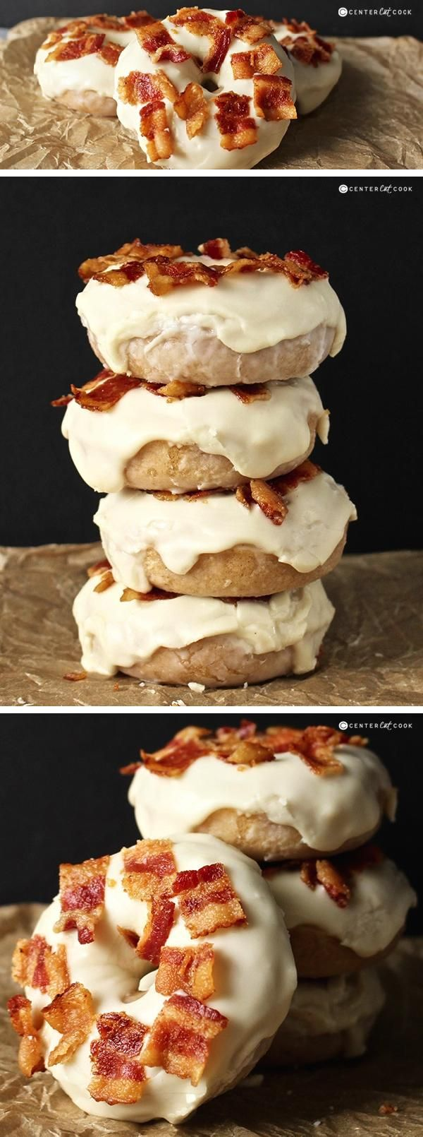 This Maple Bacon Donuts recipe is so easy and the perfect combination of sweet and salty. A delicious cake donut, sweet maple glaze, and salty bacon make these an irresistible treat!