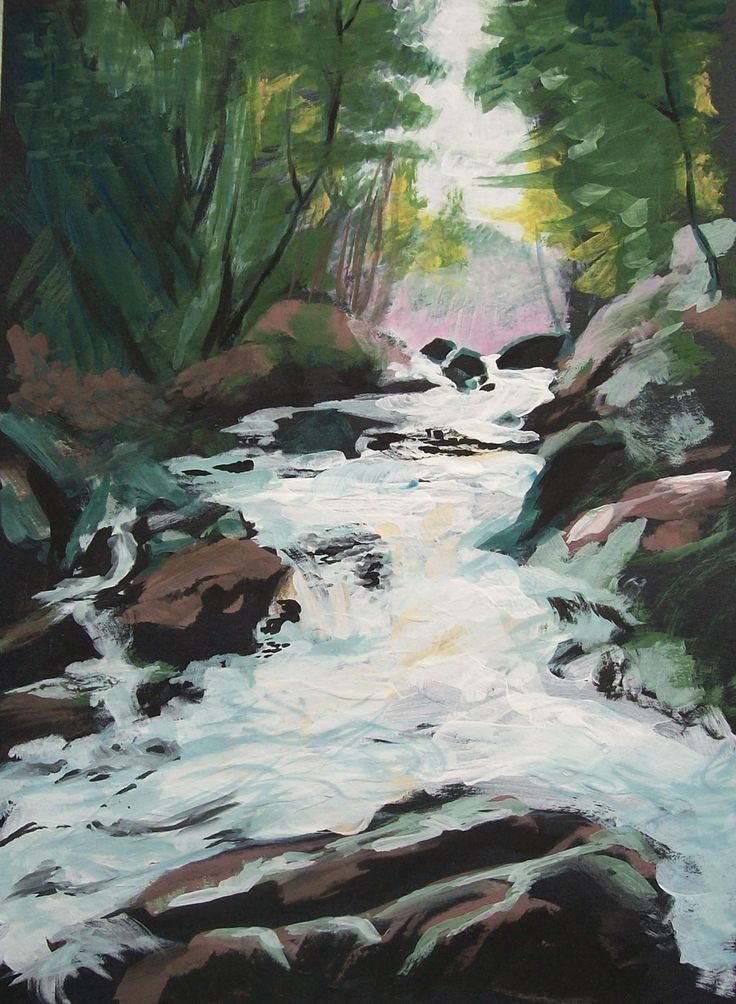 Little Smalley Falls. 7x9 in. Gouache.