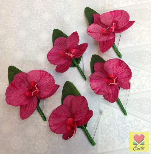 5-x-Tomato-red-orchid-buttonholes-wedding-bouquet-silk-artificial-groom-flowers