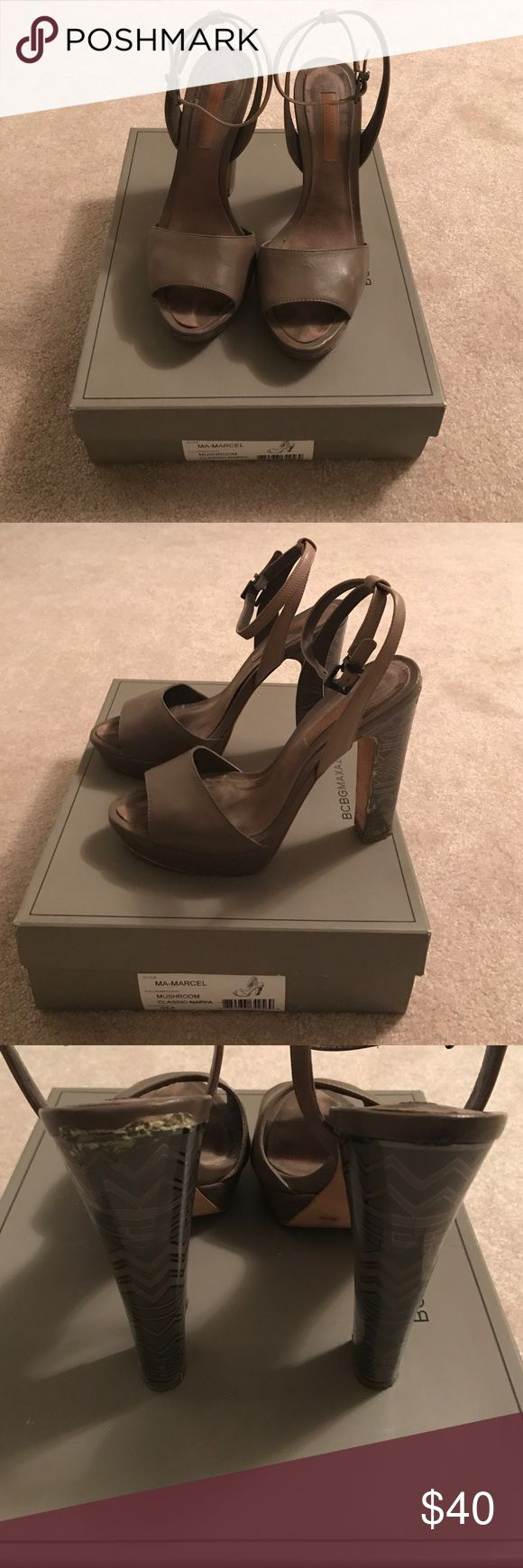 BCBG Max Azria Marcel Platform Sandal 9 BCBG Max Azria Marcel Platform Sandal size 9. Color: mushroom. Etched silver metallic heel. Some reside on left heel from reinforcing heel cover. Slight knicks on Platform. Comfortable neutral Sandal. BCBGMaxAzria Shoes Sandals