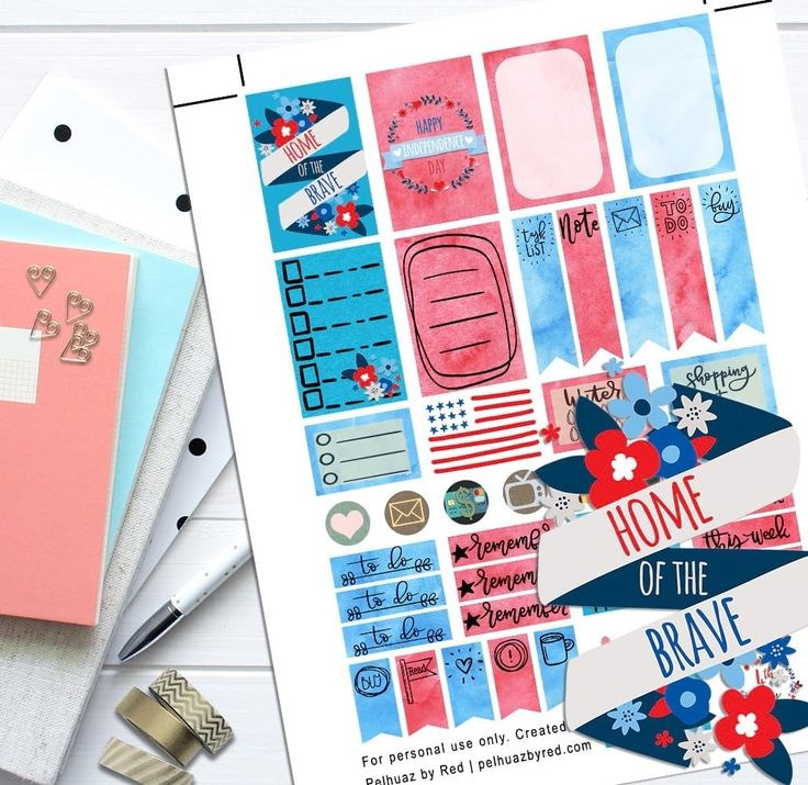 Independence Day Red Blue Theme Planner Weekly Sticker Kit