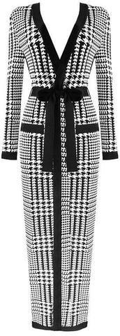 Houndstooth Stretch Cardigan/Wrap-Dress